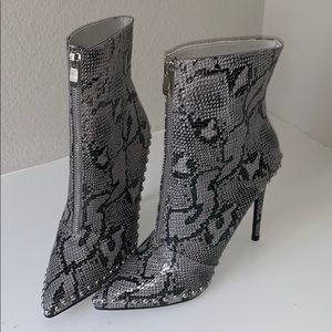 Faux snake skin heeled booties
